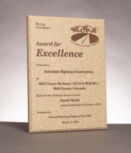 2016 American Concrete Pavement Association, Award for Excellence in Concrete Pavement for work on Weld County Parkway