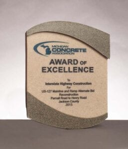 2015 Award of Excellence from the Michigan Concrete Association for US-127 Mainline and Ramp in Jackson County, MI