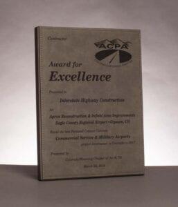 2018 American Concrete Pavement Association, Award for Excellence in Concrete Pavement for work on Apron Pavement Construction at Eagle County Regional Airport