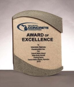 2016 Michigan Concrete Association, Award for Excellence for work on Detroit Metro Airport