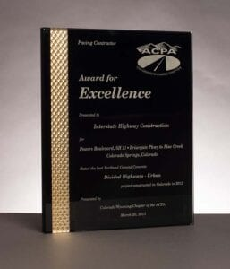 2013 American Concrete Pavement Association, Award for Excellence in Concrete Pavement for work on Powers Boulevard in Colorado Springs