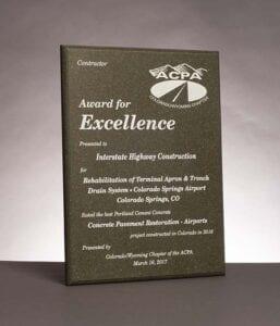 2017 American Concrete Pavement Association, Award for Excellence in Concrete Pavement for work on Colorado Springs Airport.