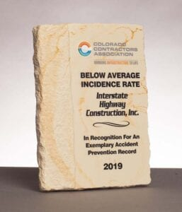 2019 Colorado Contractors Association, Below Average Incidence Rate for Accident Prevention