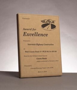 2019 American Concrete Pavement Association, Award for Excellence in Concrete Pavement for work on Weld County Road 47