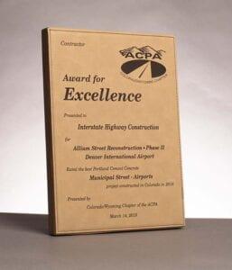 2019 American Concrete Pavement Association, Award for Excellence in Concrete Pavement for work on Allium Street Construction at Denver Airport