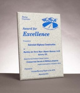 2015 American Concrete Pavement Association, Award for Excellence for work on the Buckley Air Force Base