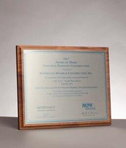 2017 Award of Merit for High Quality Pavement from the Nebraska DOT on I-80 to South Platte River