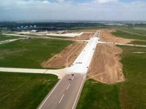Newly reconstructed concrete paved Runway at Buckley Air Force Base Runway