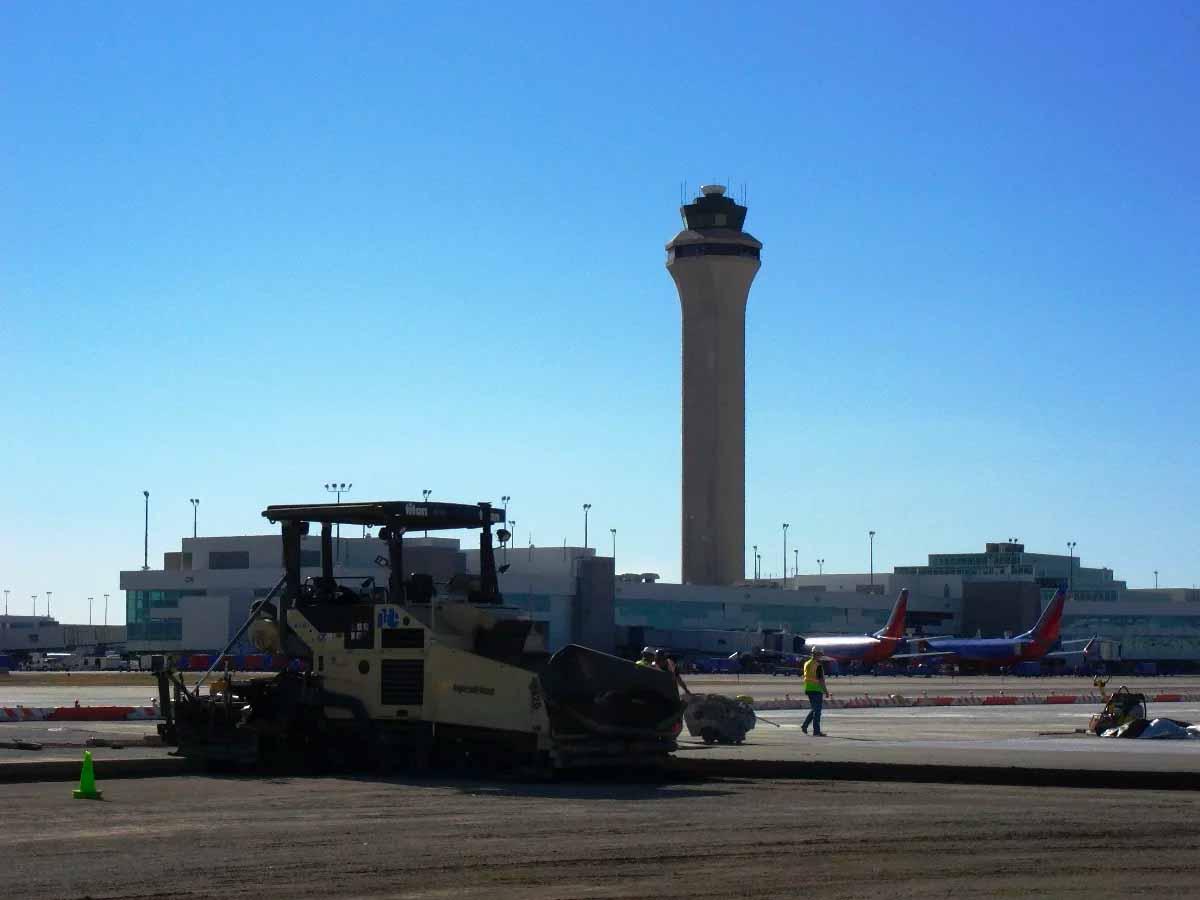 Compacting Concrete at Denver International Airport Concourse Snow Storage Pad