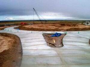 I-25 and High Plains Road roundabout paving