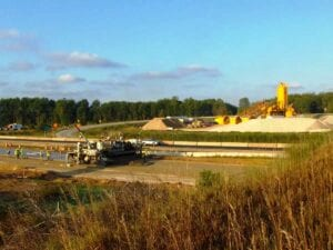 I-69 freeway concrete paving and mobile ready mix facility