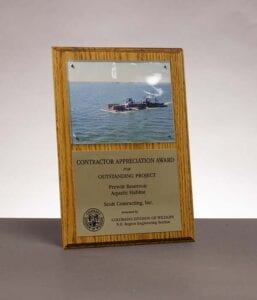2012 Colorado Division of Wildlife, Contractor Appreciation Award for Prewitt Aquatic Reservoir Habitat