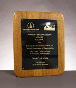2007 Colorado Contractor Association, Award for US-50 Purcell Blvd Construction