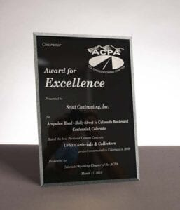 2010 Award for Excellence from the American Concrete Pavement Association for Arapahoe Road Construction in Centennial, CO
