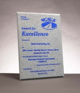 2015 Award for Excellence from the American Concrete Pavement Association for 96th Avenue Concrete Paving in Commerce City, CO