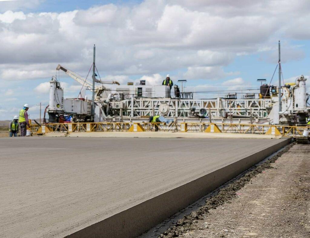 IHC Scott Builds Highways. Concrete paving on I-80