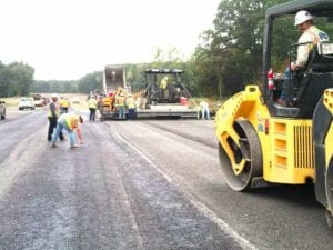 SH-64 Vilonia Bypass compactor paving