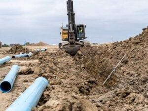 Timberleaf residential development wet utility water line installation