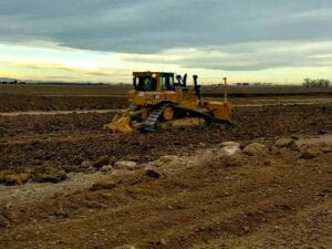 Bulldozer working on Weld County Road 47