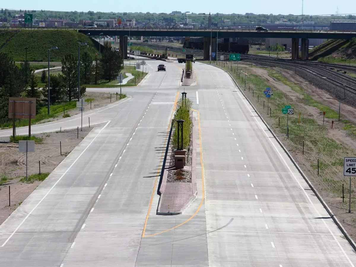 West Lincolnway (US-30) with new median and turning lane